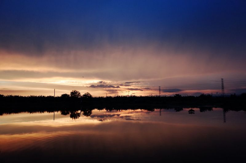 Sunset Reflection Nature Beauty In Nature Sky Cloud - Sky Electricity Pylon Water