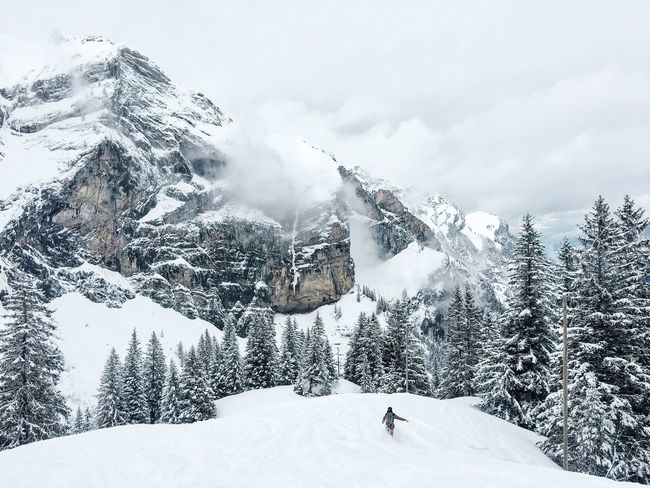 Snowy Mountain... Swiss Alps Swizerland Snow Winter Motion Cold Temperature Outdoors Sport Ski Holiday Adventure Day Mountain Vacations Leisure Activity Sky Activity Nature Full Length Scenics One Person Beauty In Nature