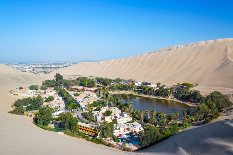 Huacachina against clear blue sky