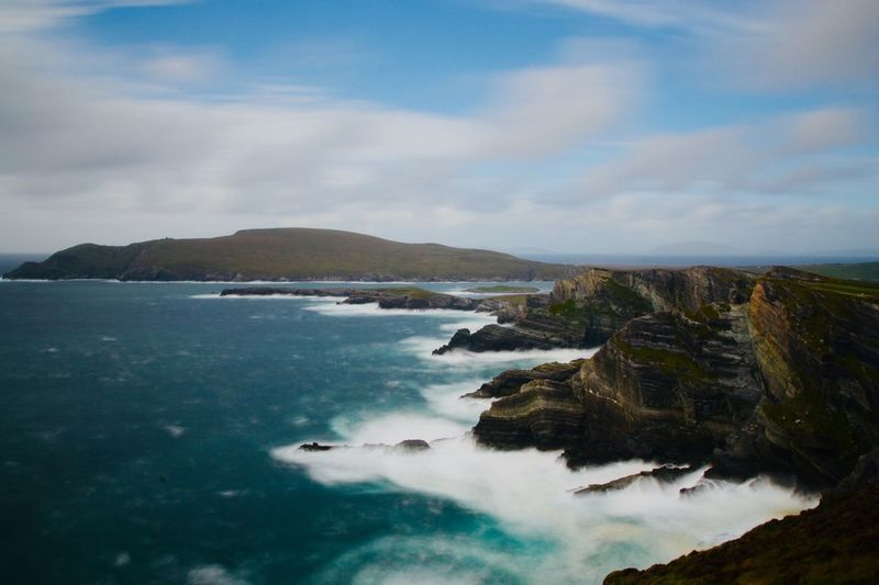 Cliffs of Kerry Ring Of Kerry, Ireland Ring Of Kerry Kerry Ireland Cliffs Cliff Water Cloud - Sky Sky Sea Beauty In Nature Scenics - Nature Nature No People Day Idyllic Motion