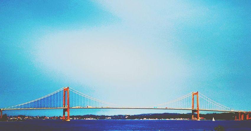 Little belt bridge denmark Denmark 🇩🇰🇩🇰🇩🇰 Fyn Denmark Brigdeovertroutwater Nature Photography EyeEm Selects Summer In The City City Water Suspension Bridge Sea Bridge - Man Made Structure Urban Skyline Blue Cityscape Communication Cable