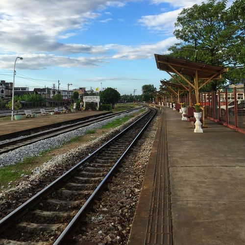 Railway in Thailand Vehicle Path Journey Transport City Railway Thailand Traveling Tourism Outdoor Iron Steeel Railroad Track Rail Transportation Transportation Tree Railroad Station Railroad Station Platform Train - Vehicle EyeEmNewHere Business Stories An Eye For Travel