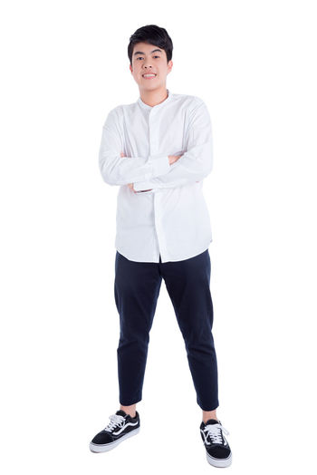 Boy Asian  Thai Standing White Isolated Background Smile Handsome Teen Teenager Adult Education Student College Man Male Happy Guy Full Length Crossed Arm