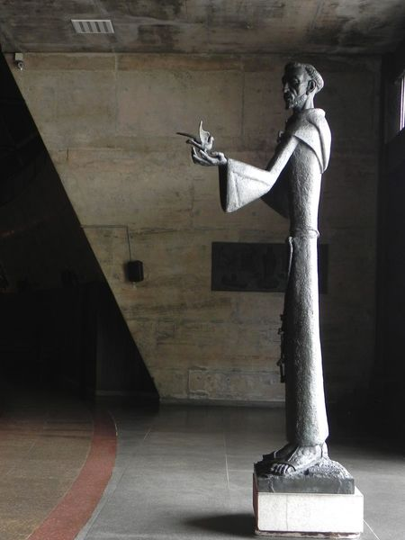 Slender Statue ArtWork Cathedral Lines And Statue Man And Bird Statue Rio De Janeiro Cathedral Slender Statue Statue