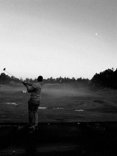 One Person Outdoors Golfing Blackandwhite Photography Black And White