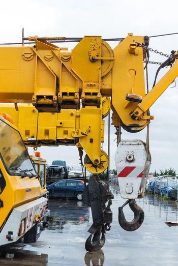Cranes Cranespotting Day Junkyard Junkyard Discoveries Junkyard Scrapmetal Junkyardcar No People Outdoors Sky Transportation Wrecking Wrecking Car Wrecking Yard Yellow