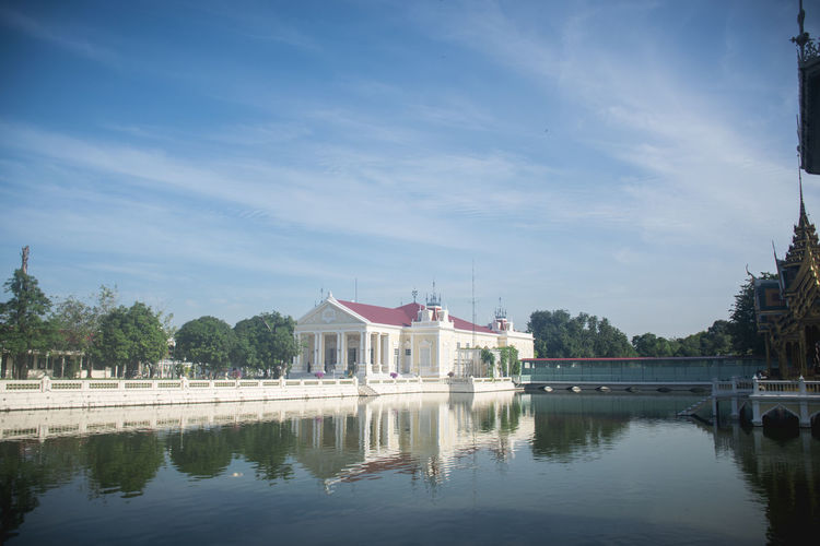 Bang Pa-In Royal Palace Architecture Building Building Exterior Built Structure Cloud - Sky Day Lake Nature No People Outdoors Plant Reflection Sky Travel Travel Destinations Tree Water Waterfront