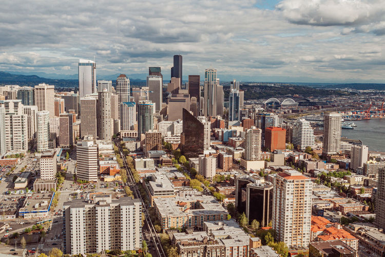 High angle  view of seattle downtown with clouds and blue sky