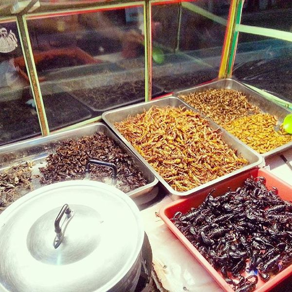 Thai Street food. Scorpions, earthworm, caterpillars, beetles, cockroach.... Thailand Pattaya Walkingstreet Scorpion Food Delicasy Street