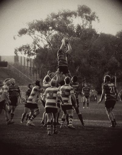 People Watching Sports Rugby Sepia Black And White Sport Sport In The City Men Athlete Sydney, Australia Camperdown Park Grainy Vignette Processed Image Stripes Clothing Winter