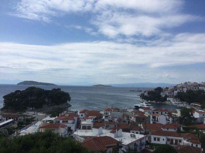 Skiathos town from the top of the hill. (2) Greece Photos Skiathos Building Exterior Town House Sky Built Structure Residential  Cityscape Landscape Waterfront Sea Community Residential Building