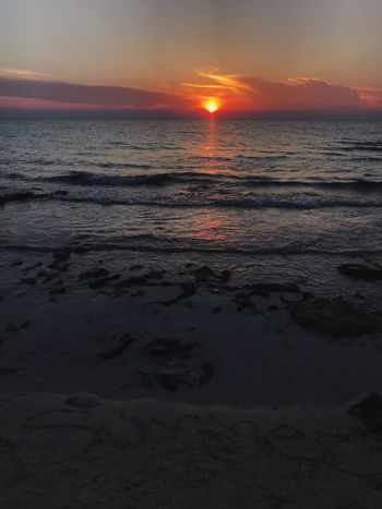 Sunset Sky Sea Water Beach Scenics - Nature Beauty In Nature Tranquility Tranquil Scene Reflection Land Sun Orange Color Horizon Outdoors Idyllic Cloud - Sky No People Nature Horizon Over Water
