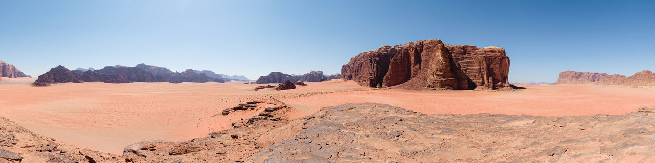 Panoramic view of rocks on landscape against clear blue sky