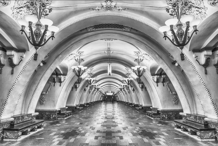 Interior of Arbatskaya subway station in Moscow, Russia Arbatskaya Arch Architecture Art Deco Beauty Built Structure City Day Decor Indoors  Lamp Marble Metro Moscow No People Russia Subway Travel Destinations Tube Underground