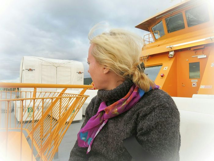 Potrait Ferry Going Home Windy Outdoors Yellow