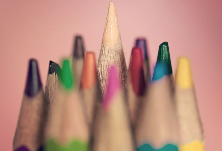 Pink pale Crayons Bokeh Close-up Colored Pencil Pencil Selective Focus Still Life Studio Shot Wood - Material