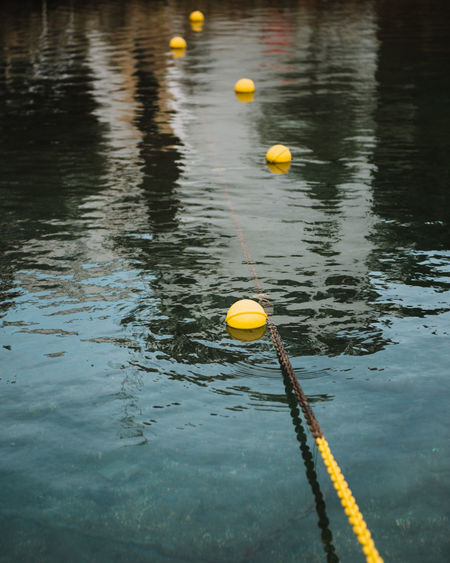 Close-up of yellow balloon floating on water
