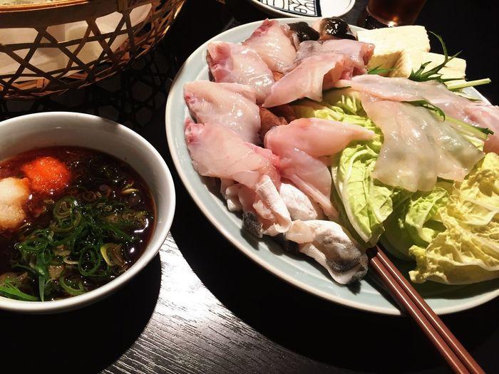 "Japanese traditional food ""Nabe Tettchiri Hugu"" Japanese Culture Japanese Tradition Fugu Puffer Fish Kyoto Japan Japanese Food Food And Drink Food Freshness Healthy Eating Plate Table Indoors"