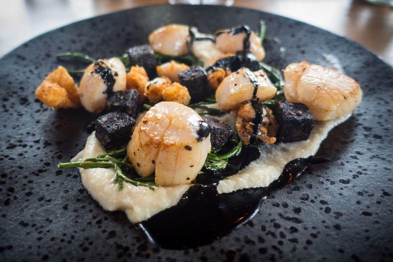 EyeEm Selects food starter dining Restaurant eating scallops squid blackpudding dinner