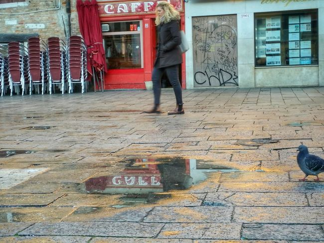 Venice Venezia Italy The Little Red Coffee Shop, The Fast Walking Blond Lady, And The Invadent Pidgeon Travel Photography Travel Traveling Mobile Photography Low Angle View Reflections Shop Signs Street Photography Art Fineart Architecture PavementsMobile Editing