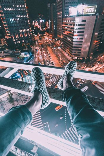 Human Leg Human Body Part Human Foot Low Section Personal Perspective High Angle View Transportation One Person Real People City Human Hand Outdoors Night Architecture Cityscape People Adult Fresh On Market 2017