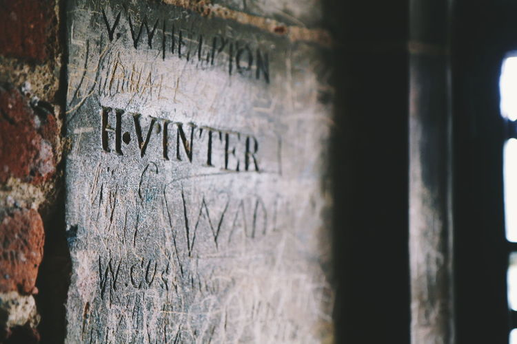Tattershall Castle Text Communication Day No People Built Structure Close-up Architecture Grafitti The Week On EyeEm