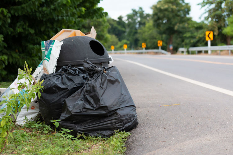 Garbage on road against trees in city