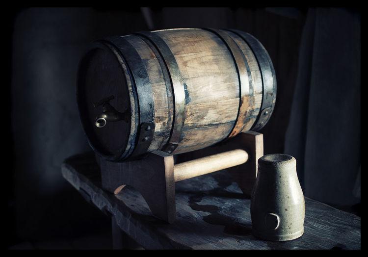 Wooden barrel in industry