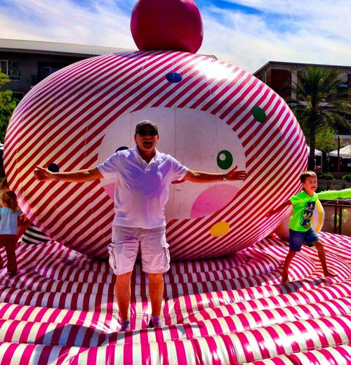 Happy Gift bouncy art at the EyeEm Phoenix Meetup 2 at the Scottsdale Canal Convergence Festival by Scottsdale Public Art in Scottsdale Arizona Scottsdale Public Art Theartofiphoneography IPhoneography Eyeem Phoenix Meetup2