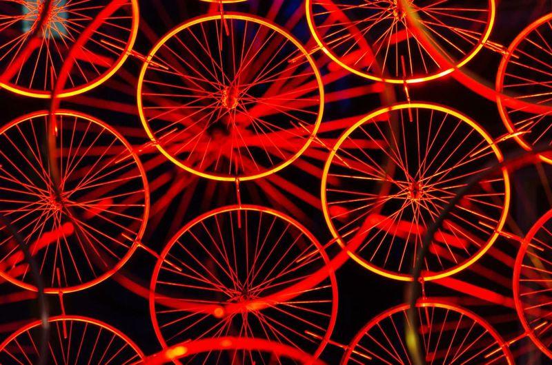 Amsterdam Light And Shadow Light Art Urban Amsterdam Light Festival Night Darkness And Light Red Bicycle