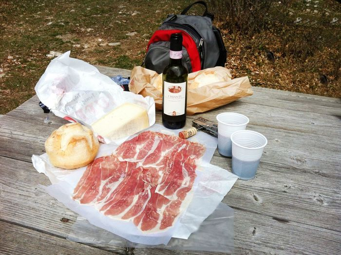 Wine Moments Meat Food And Drink Food Raw Food Unhealthy Eating Cold Temperature Drink No People Freshness Outdoors Day Hiking Picknick Wine Wine Time Prosciutto Prosciutto Crudo Lunch Bread Roll Bench Miles Away