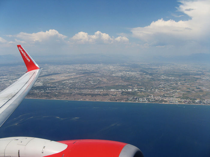 Aerial View Air Vehicle Aircraft Wing Airplane Antalya Airport Le Blue Cloud Cloud - Sky Flying Flying Over The Mediterranean Sea Jet Engine Journey Mode Of Transport No People On The Move Outdoors Scenics Sea Sky Thriugh The Windows Travel Vehicle Interior Water Window