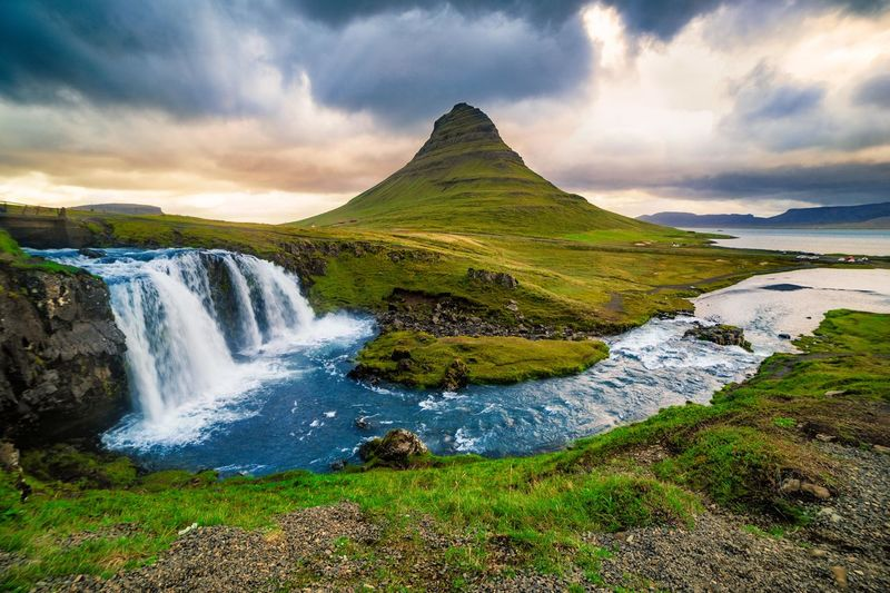 Beauty In Nature Cloud - Sky Colors Flowing Grass Iceland Iceland_collection Kirkjufell Kirkjufellsfoss Landscape_Collection Landscape_photography Motion Mountain Nature Non-urban Scene Roadtrip Scenics Sky The Great Outdoors - 2016 EyeEm Awards Travel Water Wide Angle