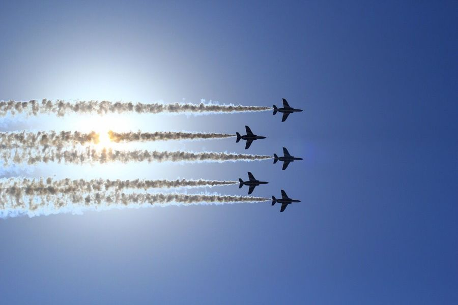Blue impulse Blue Impulse Blue Sky Komaki Air Bace Nagoya Airport JASDF Airplane Backlight