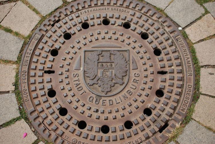 High angle view of manhole on street