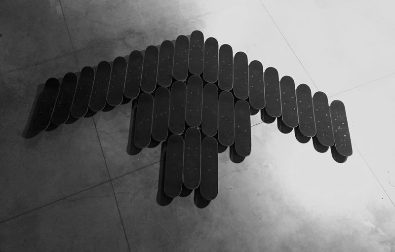 No People Indoors  Large Group Of Objects Shape High Angle View Flooring Metal Black Color Connection Design Creativity Still Life Tile Architecture Shadow Built Structure Communication Pattern Arrangement Order