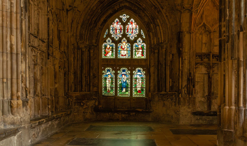 2019 Gloucester Gloucester Cathedral June Old Ceiling Stained Glass No People Window Religion Place Of Worship Arch Spirituality The Past Indoors  Cloisters