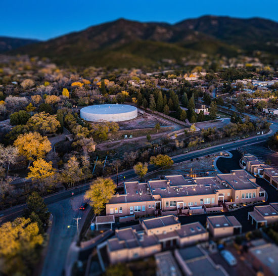Adobe houses in Santa Fe Architecture Beauty In Nature Building Exterior Built Structure City Cityscape Day High Angle View Landscape Mountain Mountain Range Nature No People Outdoors Sky Tilt-shift Tree Water
