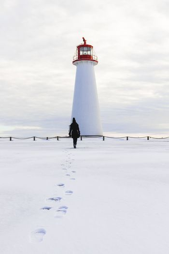 Sky Tower Lighthouse Sea Built Structure Water Guidance Architecture Scenics - Nature Land Building Exterior Safety Protection Cloud - Sky Day Horizon Over Water Direction Security Outdoors Nature
