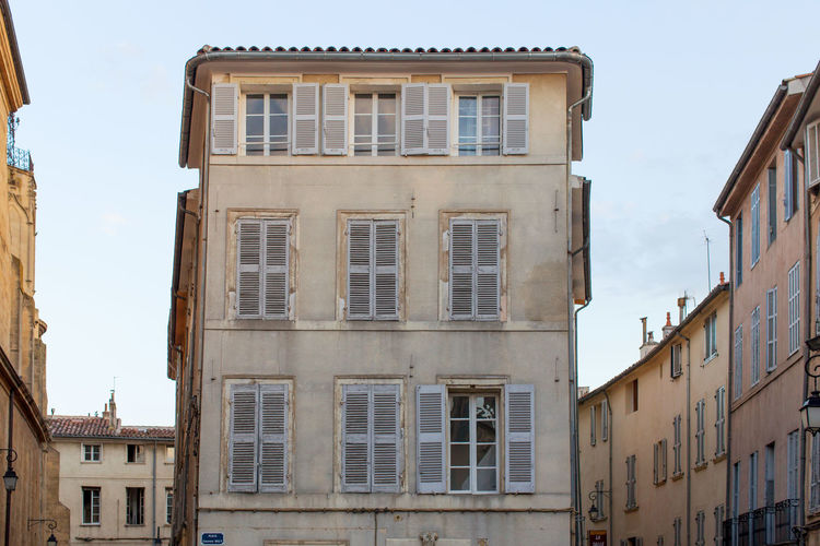 Building exterior at Aix-en Provence Architecture Building Exterior Built Structure City City Life Clear Sky Day Exterior Façade Low Angle View No People Outdoors Residential Building Residential Structure Window