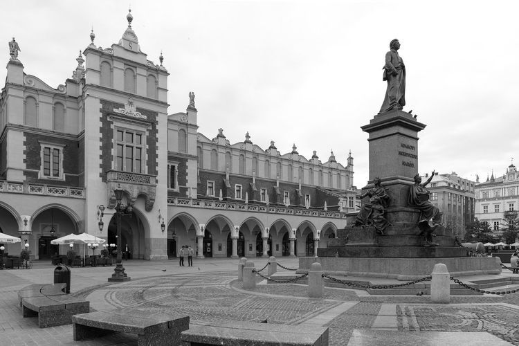Adam Mickiewicz Monument Architecture Building Exterior Built Structure Sky Sculpture Art And Craft Building City Travel Destinations Travel History Tourism Day The Past Architectural Column Outdoors Blackandwhite Bw Bw_collection BW_photography Krakow Center Poland City Europe