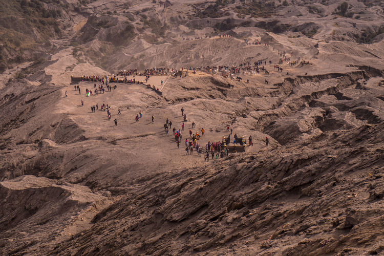 High angle view of people enjoying in desert