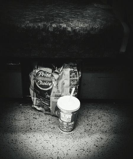 Fast food- quickly eaten and swiftly abandoned Blackandwhite Mcdonalds Wrapping Rubbish Litter Packaging Paper Tube Public Transport Seat Journey Drink Samsung Galaxy S6 No Prize This Time Vignette Monochrome