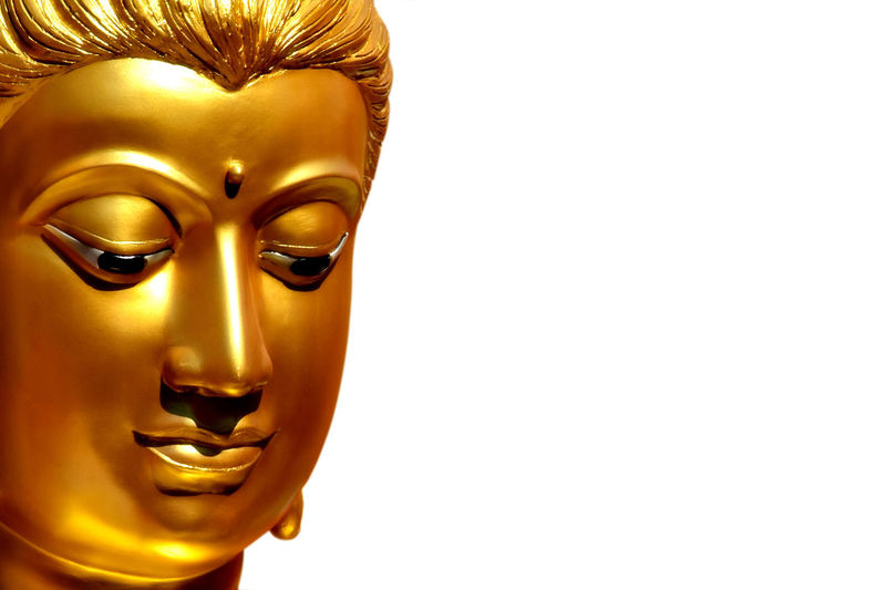 The golden face of the old Buddha statue with copy space for text. clipping path. Belief Believe Decoration Decor Meditation Stucco Mold Culture Art Face Buddha Statue Temple Gold Religion Faith Buddhism Buddha Equipment Isolated Clipping Path White Background Old Building Copy Space Text