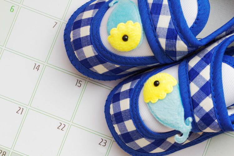 Pair of blue baby shoes on calendar Baby Shoes Shoes Kids Blue Shoes Calendar Due Date Expectation Concept Conceptual Multi Colored Blue Close-up Calendar Date Personal Organizer Craft Product Handmade