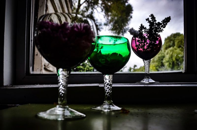 To My Angel, you brighten up my world... ❤️ Wineglass Freshness Close-up Indoors  Table Green Wine Glass Purple Wine Glass Grey Wine Glass Flowers Through My Lens No People Fragility Nature Day Glassware Drinking Glass Australia 🇦🇺 EyeEm Ready