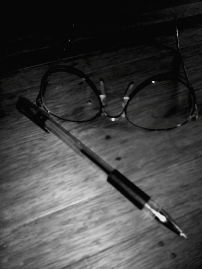 Eyesglasses Glasses Pen Table Study Black And White Photography