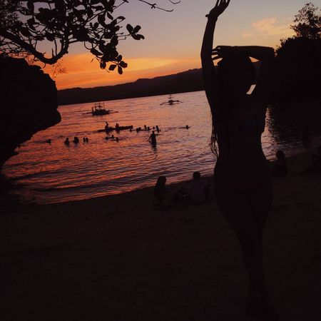 Siquijor Siquijorisland Siquijor, Philippines Philippines Sunset Water Real People Sea Beauty In Nature Orange Color Scenics Beach Silhouette Nature Summer One Person Island Travel VSCO Cam VSCO