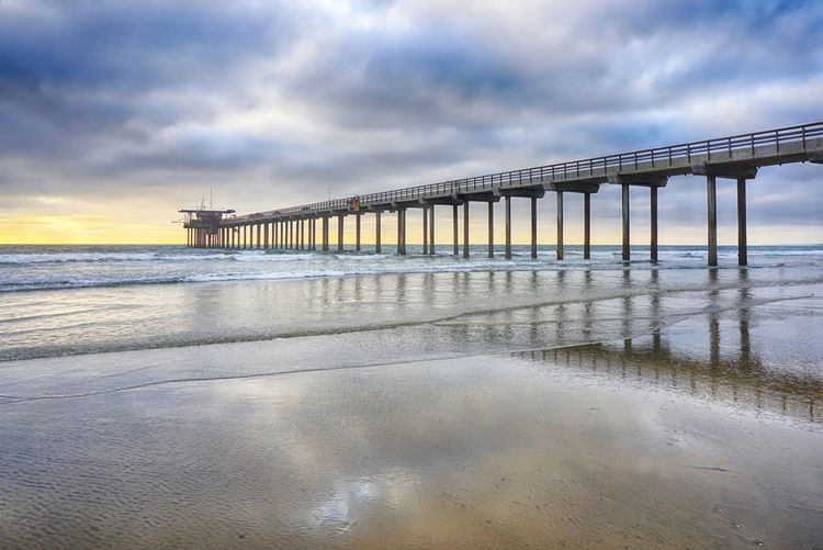 Sunset Pier San Diego California Pacific Ocean Built Structure Beach Pier Horizon Over Water Outdoors La Jolla Beach