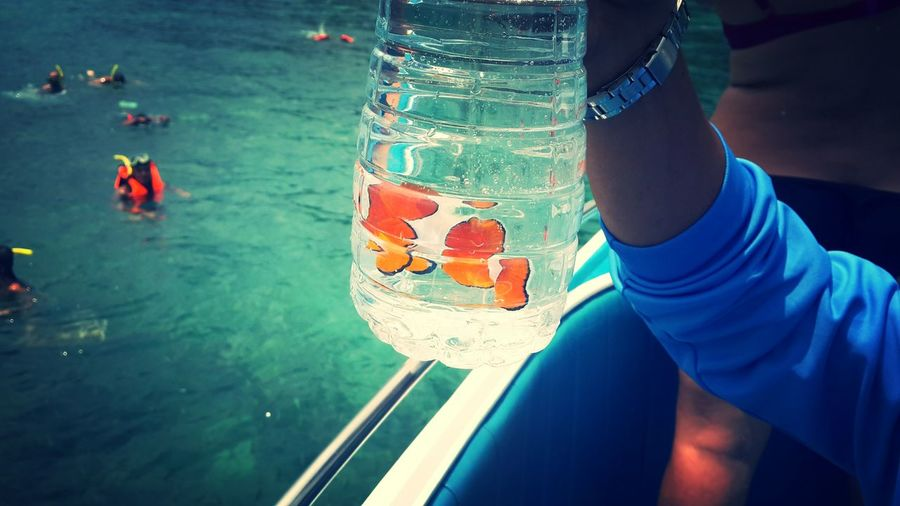 Close-up of cropped hand holding jar with clownfish on boat in sea